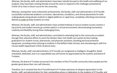 D'Youville Board of Trustees Resolution Recognizes Faculty, Staff and Administration