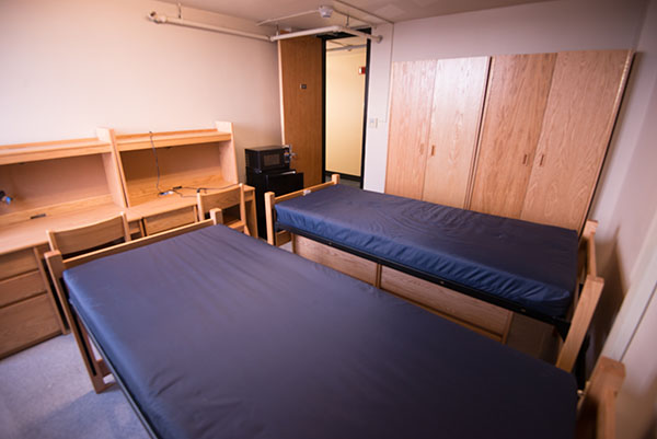empty dorm room in D'Youville's Marguerite Hall