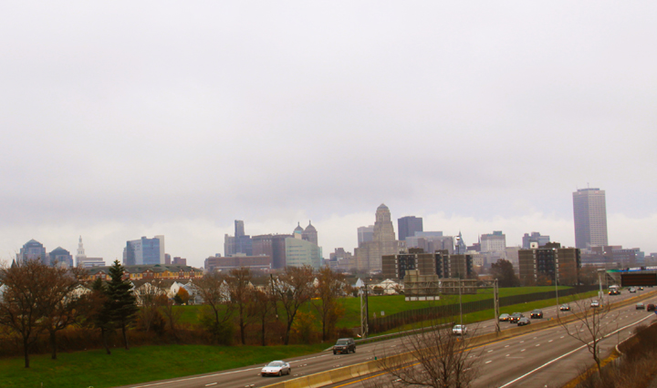 Buffalo skyline view from the Porter Avenue bridge over the I-190