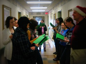 Students Christmas Caroling in the hallway