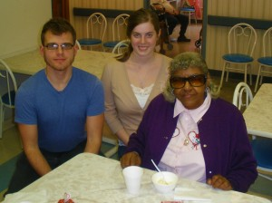 Students with resident at Mary Agnes Manor