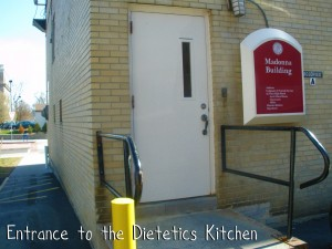 Entrance to Dietetics Kitchen in Madonna Hall