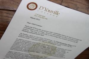 letter with D'Youville letterhead