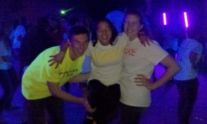 students goofing around on the dance floor