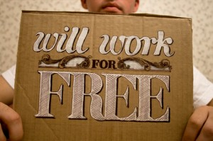 Will work for free sign