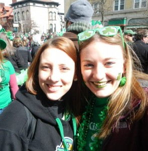 students wearing green for Saint Patrick's day