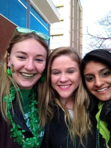 students at the St. Patrick's Day parade