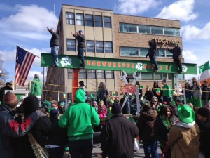 Iron worker's float at the St. Patty's day parade