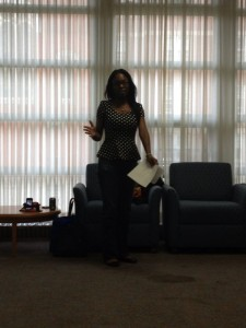 Female speaking at summit