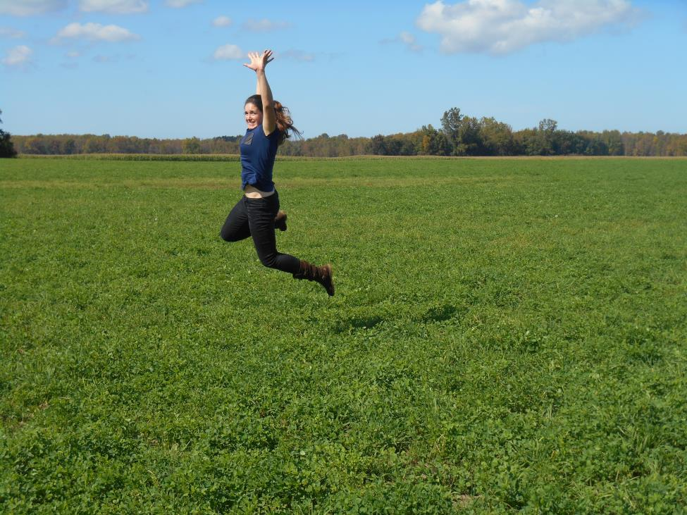 Laura jumping for joy about fall in Buffalo