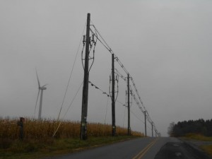 wind turbines along the drive to letchworth state park