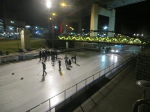 Watching the canalside curlers in action.