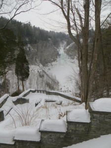 The view from the parking and viewing area at Taughannok Falls.